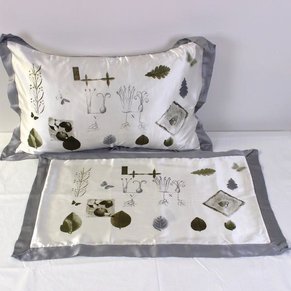 Green Leaves Silk Pillowslips - Pair