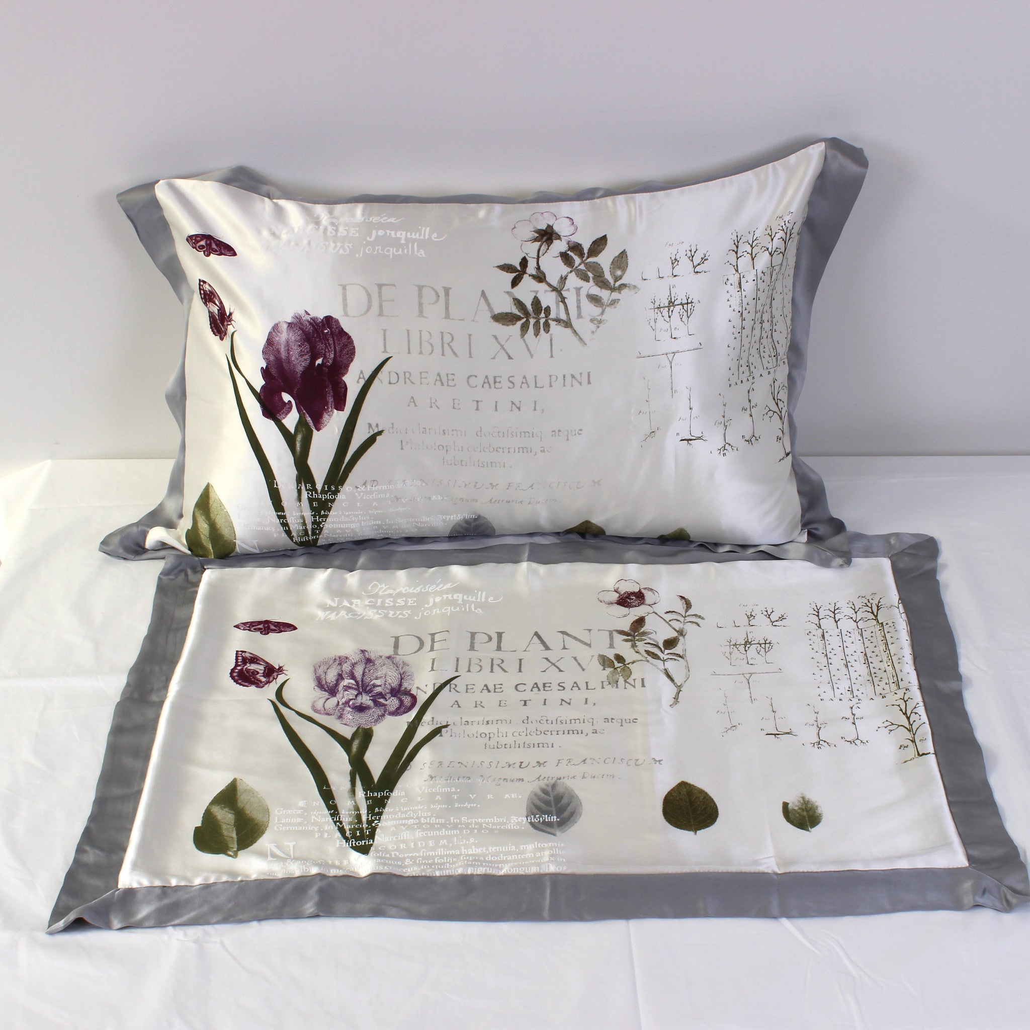 Botanical Silk Pillowcases - Pair - Front Room Fabrics