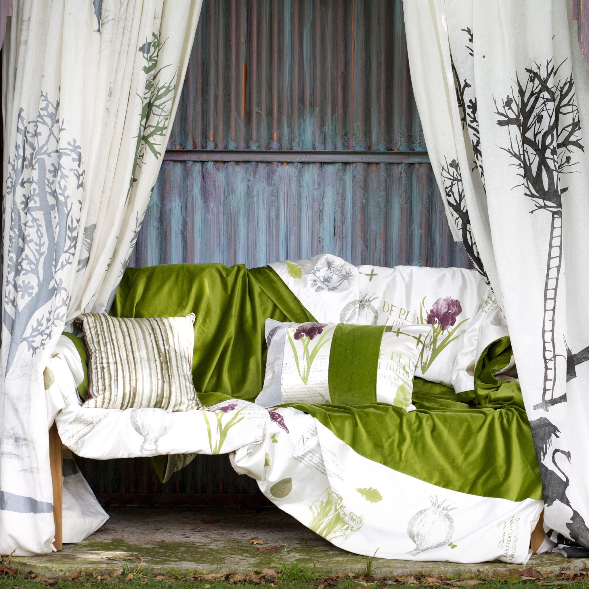 Silhouette Tree Linen Drop - Front Room Fabrics
