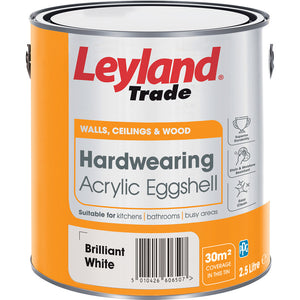 Leyland Trade Hardwearing Acrylic Eggshell Paint Brilliant White 2 5l Ideal For Kitchens Bathrooms Busy Areas Coverage Approx 12m2 Meter Per Ltr