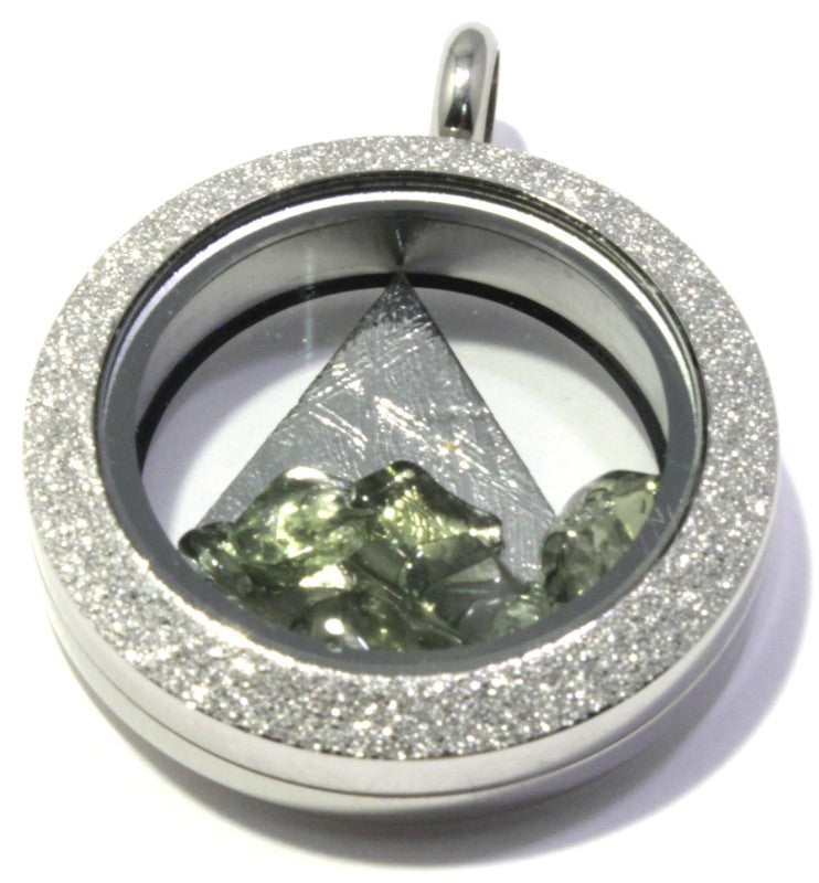 Stainless Steel Floating Locket Pendant | Meteorite Moldavite Phenacite Tourmaline
