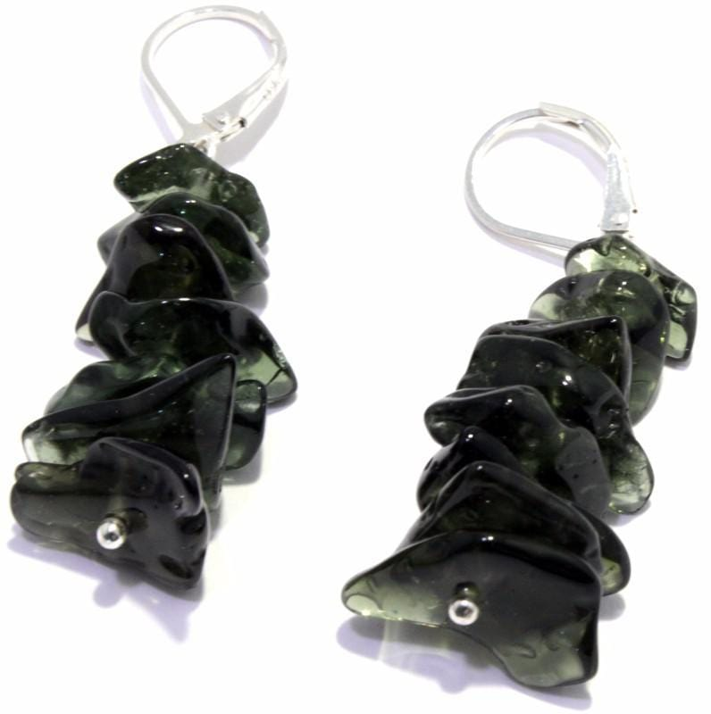 Tumbled Moldavite Silver Lever Back Earrings
