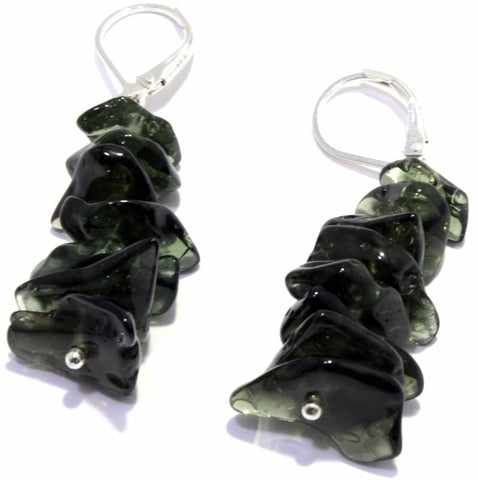 Genuine Tumbled Moldavite Leverback Earrings 925 Sterling Silver