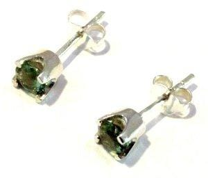 Faceted Moldavite Stud Earrings 5mm Tektite 925 Sterling Silver Jewelry