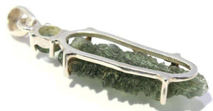 Besednice and Faceted Moldavite Pendant in Silver