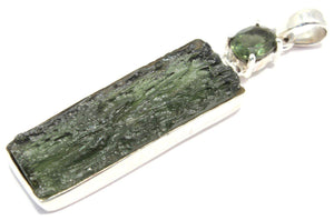 Double Moldavite Rough Faceted Silver Pendant