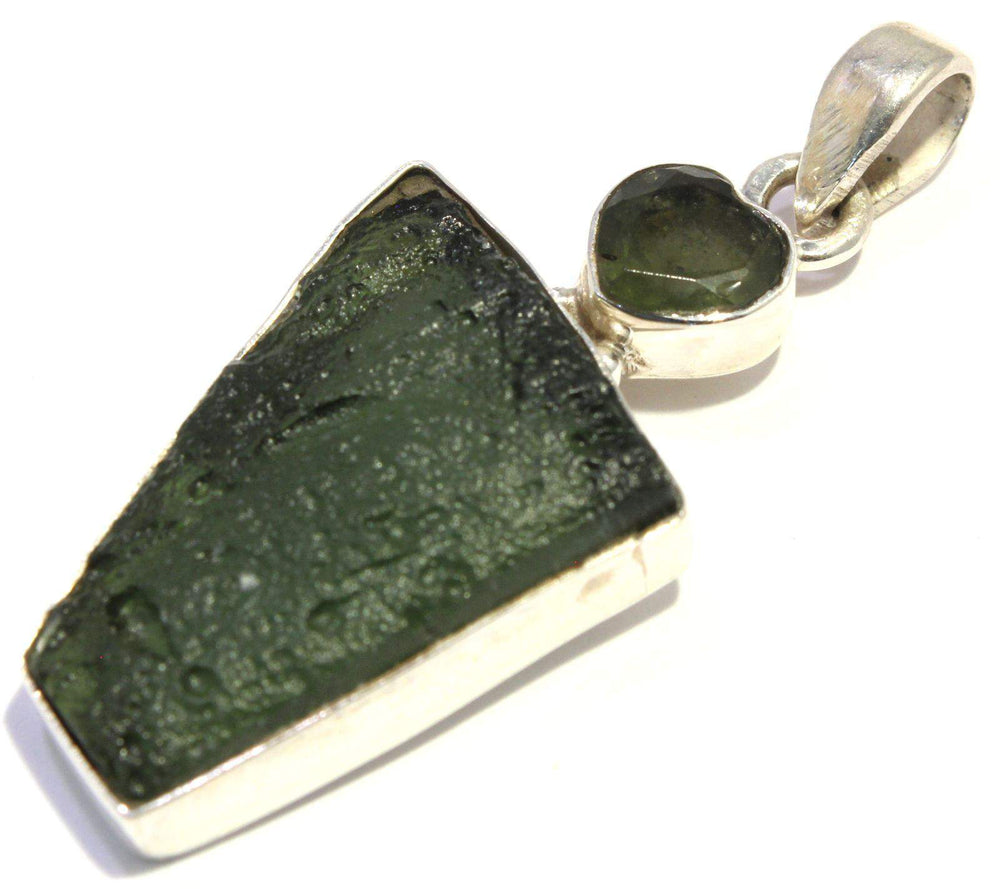 Moldavite Rough Faceted Heart Sterling Silver Pendant
