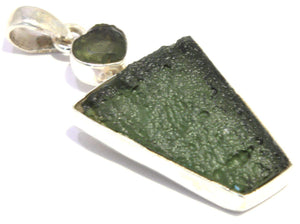 Load image into Gallery viewer, Faceted Heart Moldavite Sterling Silver Pendant