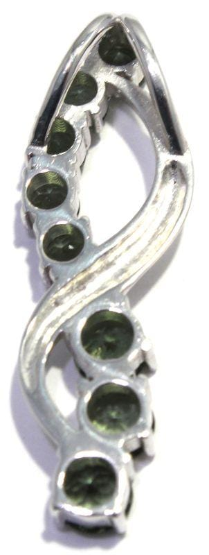Load image into Gallery viewer, Faceted Moldavite Figure Eight Silver Pendant