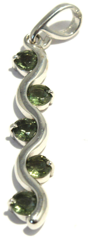 Load image into Gallery viewer, Faceted Moldavite Pendant Sterling Silver Vine