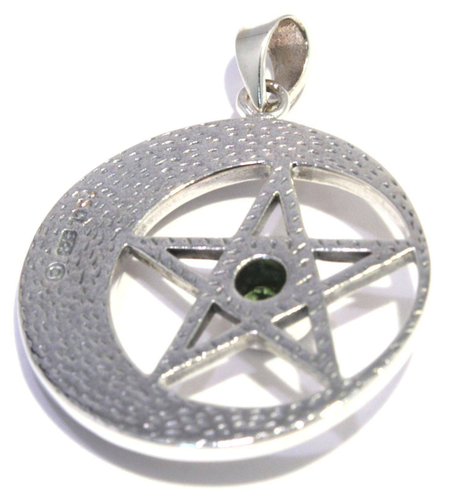 Load image into Gallery viewer, Faceted Moldavite Pentagram Celtic Moon Pendant