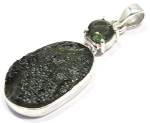 Load image into Gallery viewer, Faceted Natural Moldavite Tektite Silver Pendant