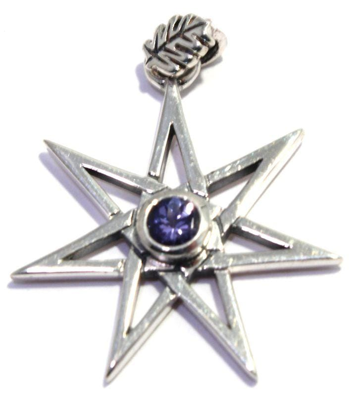 Faceted Tanzanite Pendant Elven Faery Seven Pointed Star Sterling Silver