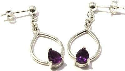 Faceted Amethyst Pear Earrings Dangle Post Sterling Silver