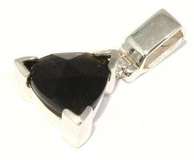 Load image into Gallery viewer, Faceted Indochinite Trillion Sterling Silver Pendant