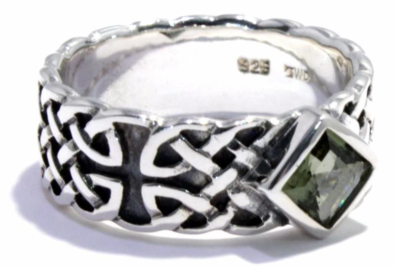 Square Moldavite Men's Ring Celtic Band