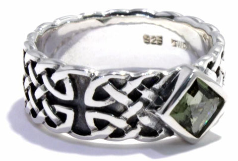Faceted Moldavite Ring Celtic Band 925 Sterling Silver Sizes 6-14