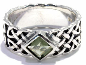 Load image into Gallery viewer, Square Moldavite Men's Ring Celtic Band
