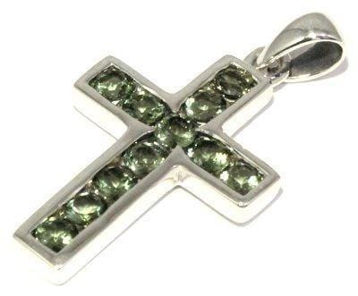 Faceted Moldavite Cross Pendant Sterling Silver Jewelry