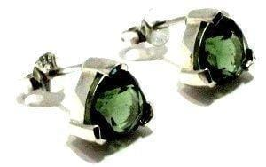 Faceted Moldavite Trillion Stud Earrings Silver