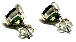 Load image into Gallery viewer, Faceted Moldavite Trillion Stud Earrings Silver