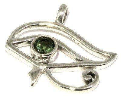 Faceted Moldavite Pendant Egyptian Eye of Horus Jewelry