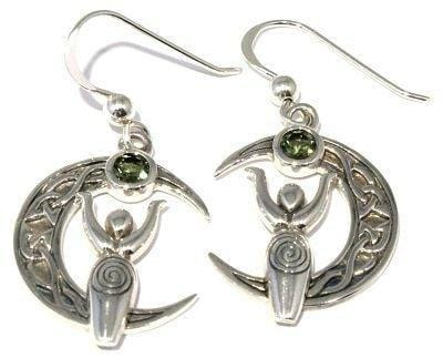 Faceted Moldavite Goddess Celtic Knot Moon Earrings