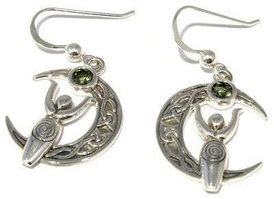 Faceted Moldavite Goddess Moon Earrings Silver