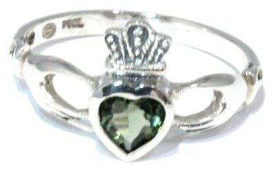 Faceted Moldavite Irish Claddagh Ring Silver