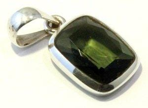 Faceted Moldavite Jewelry Sterling Silver Pendant