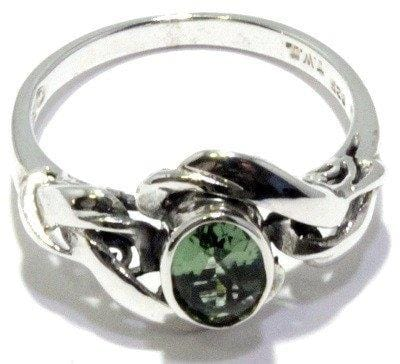 Faceted Moldavite Oval Art Nouveau Ring