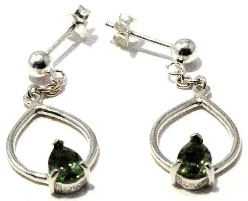 Load image into Gallery viewer, Faceted Moldavite Pear Earrings Sterling Silver