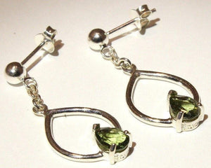 Faceted Moldavite Pear Earrings Sterling Silver