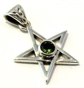 Load image into Gallery viewer, Faceted Moldavite Pendant Pentagram Sterling Silver