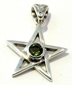 Faceted Moldavite Pendant Pentagram Five Pointed Star Sterling Silver Tektite