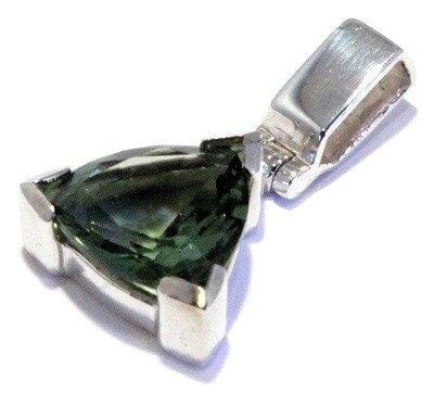 Faceted Moldavite Trillion Pendant Sterling Silver Tektite Jewelry
