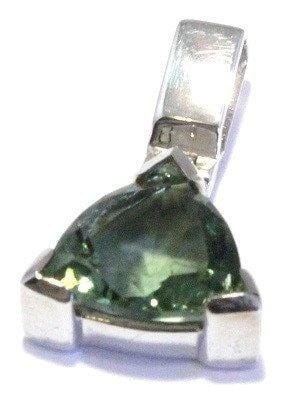 Faceted Trillion Moldavite Sterling Silver Pendant