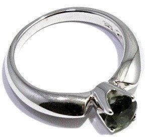 Faceted Moldavite Ring Prong Sterling Silver