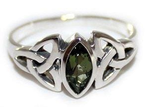 Faceted Moldavite Irish Triquetra Ring