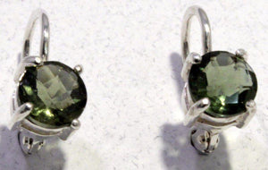 Load image into Gallery viewer, Faceted Moldavite Sterling Silver Leverback Earrings