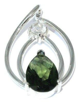 Faceted Phenacite Moldavite Pendant Sterling Silver