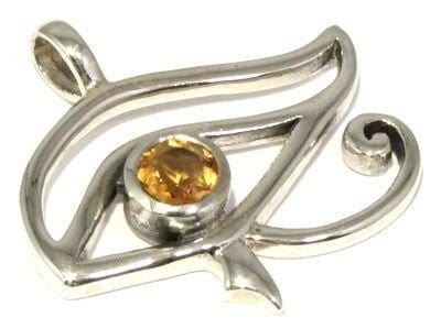 Load image into Gallery viewer, Facted Citrine Eye of Horus Pendant Silver