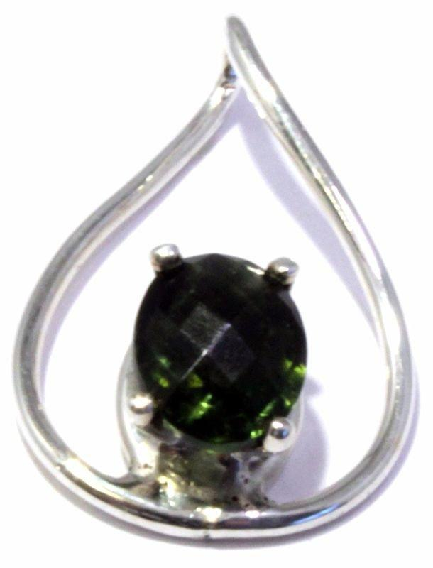 Faceted Oval Moldavite Sterling Silver Twist