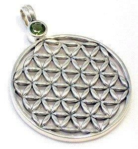 Flower of Life Faceted Moldavite Pendant Sterling Silver Jewelry