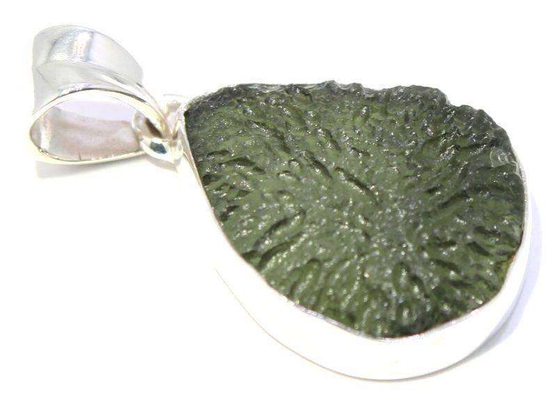 Framed Sterling Silver Natural Moldavite Pendant