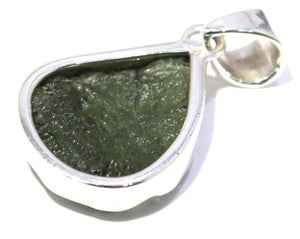 Load image into Gallery viewer, Framed Sterling Silver Natural Moldavite Pendant