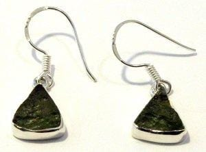 Gemstone Moldavite Earrings Sterling Silver Jewelry