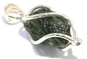 Load image into Gallery viewer, Genuine Moldavite Pendant Sterling Silver Spiral