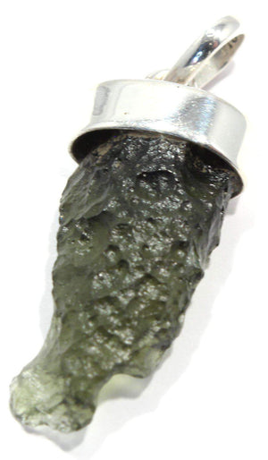Load image into Gallery viewer, Genuine Moldavite Rough Tektite Silver Pendant