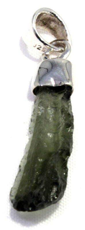 Load image into Gallery viewer, Genuine Natural Moldavite Tektite Silver Pendant